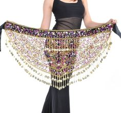 Amazon.com: BellyLady Dangling Dazzling Gold Coins Belly Dance Hip scarf, Belly Dance skirt: Clothing