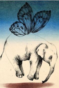 Flying elephant tattoo