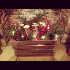 Take a look at 35 beautiful xmas fireplace decor ideas in the photos below and get inspiration on how to decorate your home for the holidays! A beautiful rustic fireplace mantel for Christmas! Christmas Entryway, Christmas Front Doors, Christmas Mantels, Noel Christmas, Country Christmas, Christmas Projects, Fire Place Christmas Decor, Fire Place Decor, Christmas Fireplace Decorations