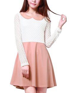 Allegra K Womam Doll Collar Mesh Panel Semi Sheer Leisure Mini Dress: Amazon Fashion