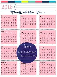 2016 Year Calendar Pink Powder @ Tina's Dynamic Homeschool Plus