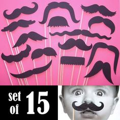Black Mustaches On a Stick  Set of 15   Photo by PiccadillyPartyCo, $18.00