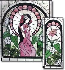 flower lady in stained glass window