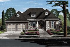 Ranch House Plan Home Plan with 2731 Square Feet and 3 Bedrooms from Dream Home Source Rambler House Plans, Ranch House Plans, House Floor Plans, Bungalow, One Level Homes, Unique Floor Plans, Design Living Room, House Plans And More, Great Rooms
