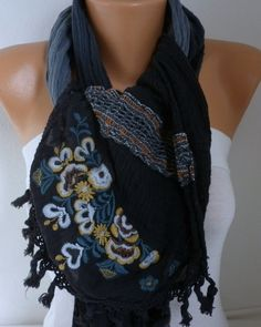 Gray & Black Ombre Scarf Spring Winter Accessories by fatwoman