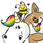 A cute and colorful unicorn, a friendly dog, and a smiley bee.