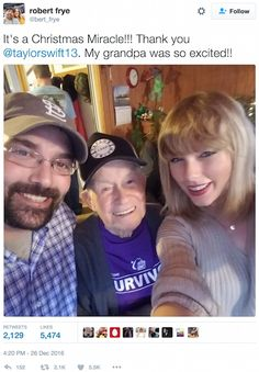 taylor swift surprises vet | Taylor Swift Surprises WWII Vet With Christmas Visit And Live ...