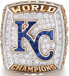 Top view of the Royals' 2016 World Series championship ring.