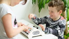 This is the Dato DUO, an instrument for two. A gritty sounding synthesizer paired with a flashy sequencer. For kids aged 3 - 99 and up!