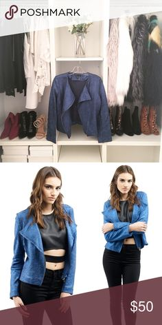 BLUE METALLIC MOTTO JACKET Lightweight metallic blue diagonal zip motto jacket  100% Cotton. Hemmed lining. ALL PICTURES TAKEN EXCLUSIVELY FOR STYLE LINK MIAMI AND SHOWING ACTUAL PRODUCTS. PRICE FIRM. Style Link Miami Jackets & Coats