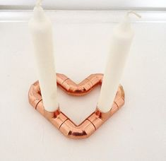 L'Amour Copper candle holder Heart shaped / Rose gold /