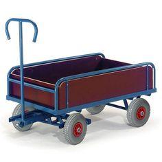 GTARDO.DE:  2-Achs Handkarre mit Bordwand, Tragkraft 400 kg, Ladefläche 930x535 mm, Maße 1170x600 mm, Rad-Ø 260x85 mm 399,00 €