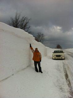 A snow drift along M116 in Ludington Michigan on February 7, 2014.