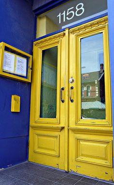 yellow doors on Yonge Street near Roxborough Avenue, midtown Toronto Door Knockers, Door Knobs, Door Handles, Cool Doors, Unique Doors, Mellow Yellow, Blue Yellow, Lemon Yellow, Color Yellow