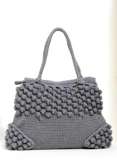Medium size hobo bag Mercury hand bag Crochet bag in a popcorn pattern with…