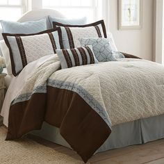 Refresh your master suite or guest room with this cozy 8-piece quilted comforter set, showcasing 2 standard shams, 2 Euro shams, a bed skirt, and 2 decorativ...