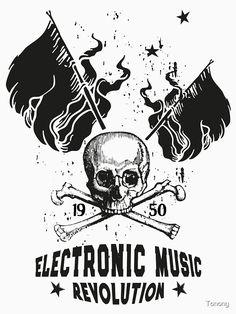 Electronic Music ☆ ELECTRO Music Revolution von Tonony ☆ T-Shirt ☆ Electronic Music Revolution ☆ Die Electronic Music vereint die Generationen  und verbindet die Menschen über Grenzen hinweg.  Mit diesem Motiv kannst du zeigen, das Musik dein Leben ist. Electro Music, Revolution, Vintage T-shirts, Flower Power, Electronics, T Shirt, Fictional Characters, Round Collar Shirt, People