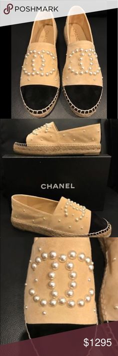 Chanel Pearl Espadrilles Chanel Beige Suede White Pearl Double Sole Espadrille Size: 36  Name: Espadrilles Color: Beige/Black Style: 17B Style#: G29762Y52347 Material: Suede Classic double sole espadrilles Black suede cap toe White ivory pearlized CC pearl logo Light beige suede material *SOLD OUT WORLDWIDE* Brand new in box, comes with original box and dust bag 100% Authentic or your money back  Any other questions, just ask! :)  Happy Poshing! ❤️ CHANEL Shoes Espadrilles