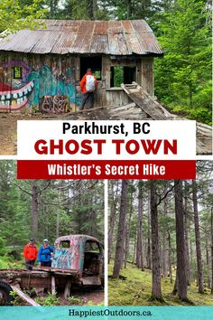 There's a hidden ghost town near Whistler, BC and you can hike there. Parkhurst is an abandoned logging town with ruins in the rainforest. Use these detailed directions to find Whistler's ghost town. It includes a map of how to find Parkhurst Ghost Town and how to get there from Whistler. Hike to a ghost town in British Columbia. Vancouver Travel, Vancouver Island, Backpacking Tips, Hiking Tips, Canada Travel, Travel Usa, Green Lake Park, Tourism Victoria, Columbia Outdoor