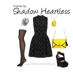 Shadow Heartess (Kingdom Hearts) by console-to-closet on Polyvore featuring Topshop, Dorothy Perkins, River Island, Life 8 and Kate Spade