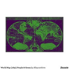 World Map (1691) Purple & Green Poster