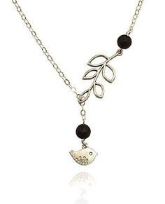 (*^_^*) Handmade Jewelry Aromatherapy Necklace Essential Oil Diffuser Lava Stone Pendant Jewelry, Silver-tone, Small Bird and Branch Charms, Lariat, Y-Style