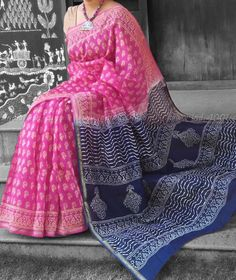 Elegant Dual Tone Chanderi Saree with Block Printing