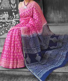 Elegant Dual Tone Chanderi Saree with Block Printing