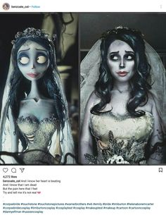 Tim Burton's Corpse Bride cosplay costume on Instagram