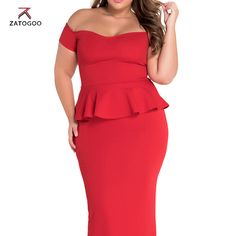 ZATOGOO 2017 Top Fashion Time-limited Polyester Cotton Casual None Robe Office Dress Flounced Sexy Backlit Pencil Slim Dress 2XL