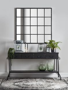 With a gently distressed black iron finish and twenty mirrored panels, our bold industrial style window mirror will make a statement in your living space. Inspired by our bestselling window mirror collection, it encapsulates factory chic with a Industrial Console Tables, Console Table Styling, Iron Console Table, Wooden Console Table, Console Table Living Room, Entryway Console Table, My Living Room, Dining Room, Luxury Home Furniture