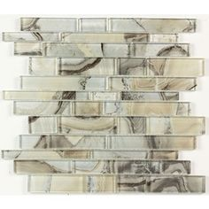 Elida Ceramica Volcanic Beige Silver Glass Mosaic Linear Wall Tile (Common: 12-in x 14-in; Actual: 11.75-in x 11.75-in)