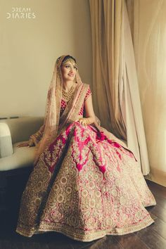 Looking for Beautiful Pink and gold bridal lehenga with light peach dupatta? Browse of latest bridal photos, lehenga & jewelry designs, decor ideas, etc. Indian Bridal Outfits, Indian Bridal Lehenga, Indian Bridal Fashion, Indian Bridal Wear, Red Lehenga, Indian Dresses, Bridal Dresses, Lehenga Wedding Bridal, Wedding Mandap