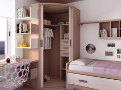 Juvenil 2 Wardrobe Design Bedroom, Bedroom Bed Design, Home Room Design, Girl Bedroom Designs, Small Room Bedroom, Kids Room Design, Bedroom Decor, Small Room Design, Pinterest Room Decor