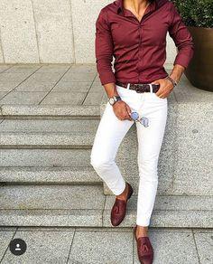 Jaw-Dropping Cool Tips: Urban Wear Fashion urban fashion boho black. White Jeans Outfit, White Pants Men, Black Shirt Outfit Men, Chinos Men Outfit, White Dress Pants, Black Jeans, Denim Shirt Men, White Trousers, Pant Shirt