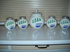 Hocking Green Flower Pot Grease Jar + Salt/Pepper/Sugar/Flour Shakers Range Set