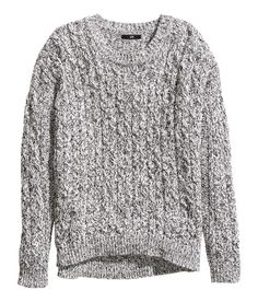 Black and white cable-knit sweater. | Warm in H&M