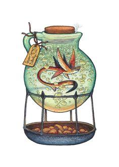 Geyser Spring Butterfly Fish, an art print by Emma Lazauski Creature Concept Art, Creature Design, Character Art, Character Design, Witch Art, Mythical Creatures, Larp, Dungeons And Dragons, Cute Art