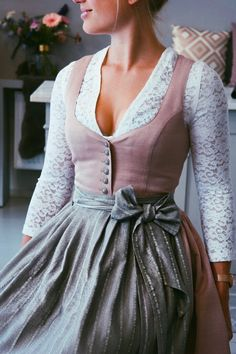 """Dirndl """"Janni Toffee Rose"""" and lace blouse """"Leyla""""? Always… – Dirndl … – Dirndl """"Janni Toffee Rose"""" and lace blouse """"Leyla""""? Always… – Dirndl – Dress Dior, Dirndl Dress, Robes Disney, Bluse Outfit, Street Style 2018, Street Styles, The Dress, Vintage Dresses, Vintage Fashion"""