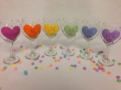 Hand Painted Valentine's Day Wine Glasses with Hearts - Conversation Hearts