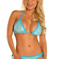 Lt Blue Sequin Pucker Back Bikini  Lined, lightly padded triangle bikini top with sliding halter tie top and tie in the back. Lined matching tie-side bikini bottoms with pucker back. Water Safe.  Sizes XS -XL We do not accept returns or exchanges for hygienic purposes. Please refer to the si...