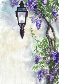 Lilac lantern royalty-free lilac lantern stock vector art & more images of landscape Art Floral, Watercolor Flowers, Watercolor Paintings, Gouache Painting, Mosaic Art, Painting Inspiration, Flower Art, Landscape Paintings, Art Projects