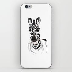 Funny zebra with a brush in the teeth iPhone & iPod Skin