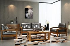 Woody Land Chinese Style Black Leather Sofa Set - MelodyHome.com