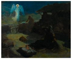 "Henry Ossawa Tanner, The Annunciation to the Shepherds 1895 ... Gospel of Luke: ""You will find a baby wrapped in cloths and lying in a manger."""