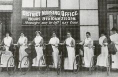 Vintage nurses in bicycles, 1914. 50 Vintage Photos of Nurses Being Awesome #Nursebuff #Nurse #Vintage
