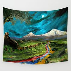 One of Haroots most popular paintings features a river in Armenia, situated at the base of Mount Ararat, with the colors of the Armenian flag flowing through it's waters.<br/> <br/> Mount Ararat, Armenia, Mt. Ararat, Masis Ararat, Armenian Flag, Armenian paintings, armenian wall art, armenian wall decor, armenian nature, armenian couple