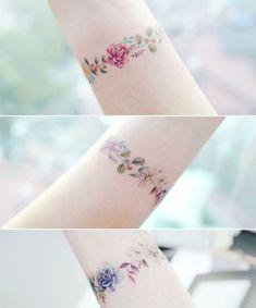 Floral Rose Tattoo Bracelets