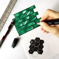 Скетч плитки маркерами