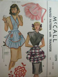 Vintage 1940's McCall 1270 RUFFLED APRON w/ Transfer Sewing Pattern Women | eBay